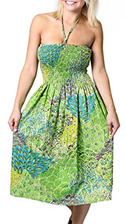 One-size-fits-most Tube Dress/Coverup with Peacock Print - Green