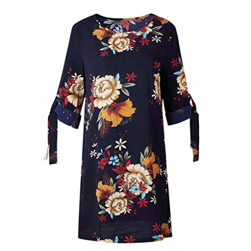 Mini Drak Tie Casual Dress Neck a Dress Crew Print Shift Women's Summer BSGSH Floral Blue Sleeve tPOP0w