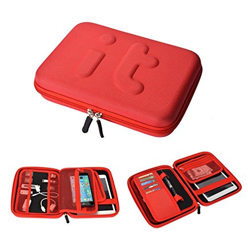 Waterproof Travel Cable Organizer Electronics Accessories Case Organizer Travel Portable Hard Drive Case for iPad Mini, Galaxy Tab, USB Flash Drive, Phone, Charger (Red by W&G traveler