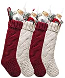 """Kunyida Pack 4, Unique Burgundy and Ivory White Knit Christmas Stockings 14"""""""
