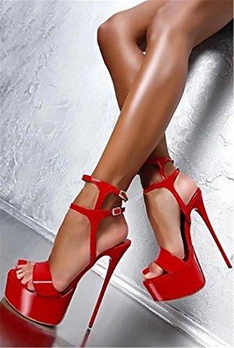 del Paseo Correa Sandalias Señoras Hebilla Estilete Mirar Dedo Mujer Fiesta Zapatos Noche pie Tobillo Negro Impermeable Tacón 2 Delgado Plataforma furtivamente Alto gfqRxzI