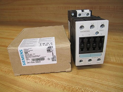 Siemens 3RT10 34-1BB40 Motor Contactor, 3 Poles, Screw Terminals, S2 Frame Size, 24V DC Coil Voltage