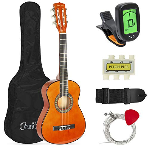 Best Choice Products 30in Kids Classical Acoustic Guitar Complete Beginners Kit with Carrying Bag, Picks, E-Tuner, Strap (Brown)