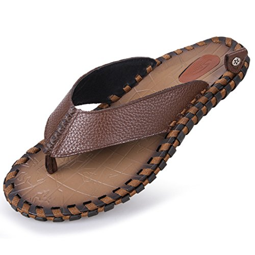 Autumn Melody Fashion Handmade Sandals Genuine Leather Personality Men Flip-flops Size 11 US Brown