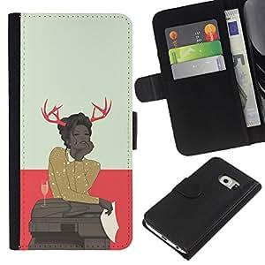 JackGot ( Astado Hipster Mujer ) Samsung Galaxy S6 EDGE (NOT S6) la tarjeta de Crédito Slots PU Funda de cuero Monedero caso cubierta de piel