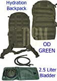 Molle Hydration Backpack Pack With 2.5 L Liter Bladder OD GREEN, Outdoor Stuffs