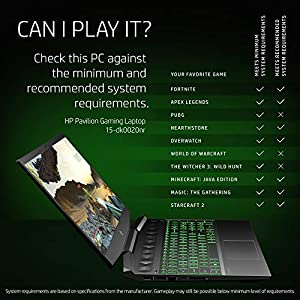 HP Pavilion Gaming 15-Inch Micro-EDGE Laptop, Intel Core i5-9300H Processor, NVIDIA GeForce GTX 1650 (4 GB), 8 GB SDRAM, 256 GB SSD, Windows 10 Home (15-dk0020nr, Shadow Black/Acid Green)