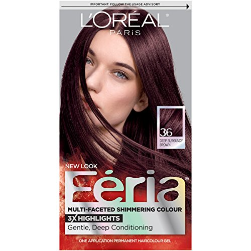 (L'Oréal Paris Feria Multi-Faceted Shimmering Permanent Hair Color, 36 Chocolate Cherry (Deep Burgundy Brown), 1 kit Hair Dye)