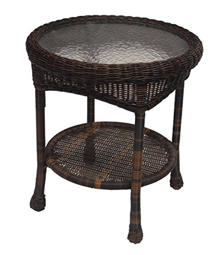 Oakland Living Resin Wicker End Table, 21-Inches, Coffee by Oakland Living