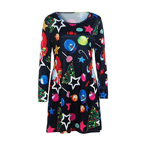 iYBUIA Autumn Womens Santa Christmas Printing Swing Dress Round Neck Long Sleeve A-Line Dress