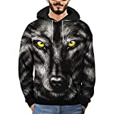 Clearance Mens T Shirts WEUIE Mens 3D Printed Wolf Pullover Long Sleeve Hooded Sweatshirt Tops Blouse