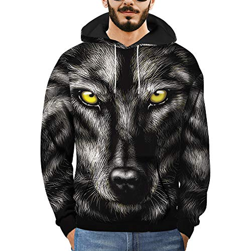 WOCACHI Mens Hoodies 3D Wolf Pattern Pullover Hooded Casual Stylish Sweatshirt Deal Autumn Winter Warm Tops Blouses Shirts