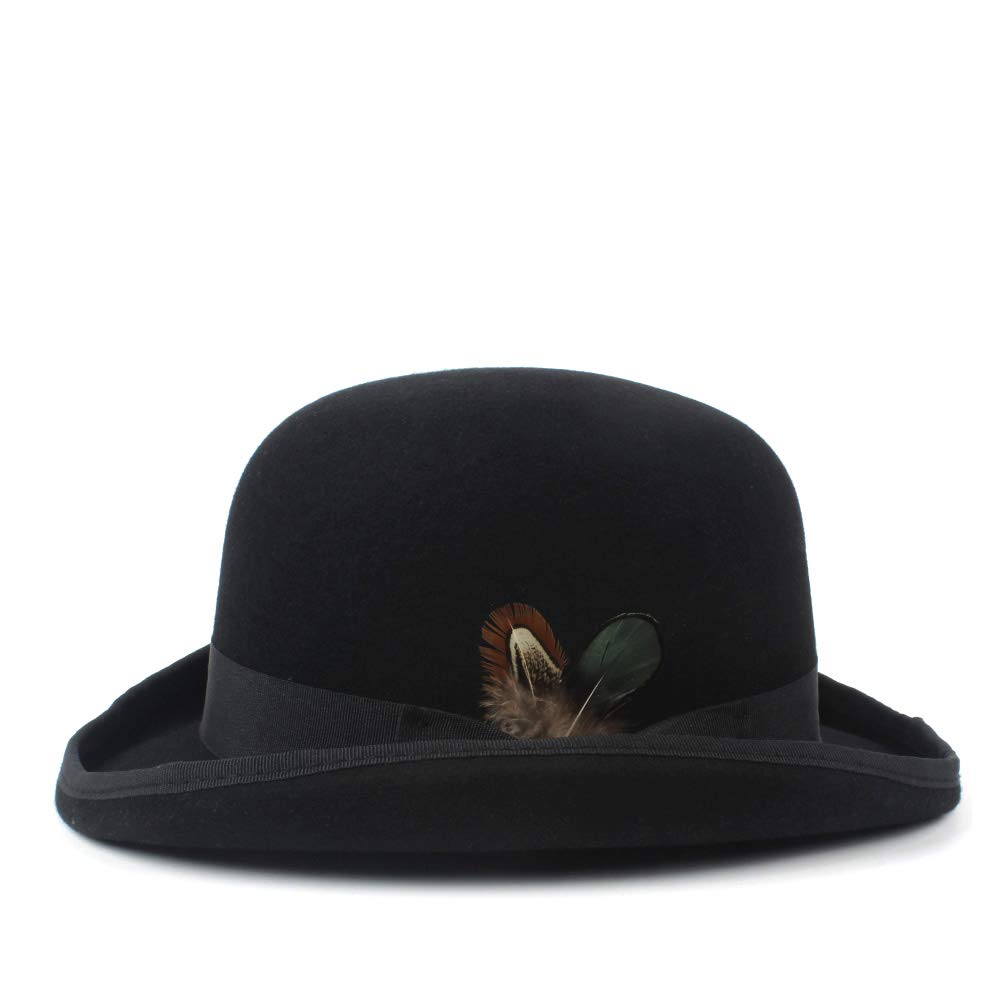 LL Men's 100% Wool Bowler Hat Cowboy Fashion Equestrian Cap Women Party Fashion Black Brown Adjust Hat (Color : Black, Size : 61cm) by LL (Image #2)