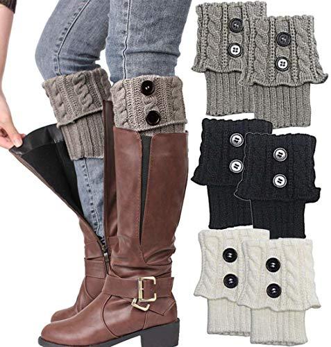 Winter Cable Knit Leg Warmers, Short Women Crochet Boot Cuffs, Women boot cuff socks - Ivory White, Black, Grey (3 Pairs)