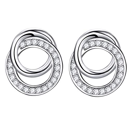2746a4f4e ZENI Silver Stud Earrings for Women Sweet Interlocking Circles cubic  zirconia Mother Valentine Day Birthday Gift
