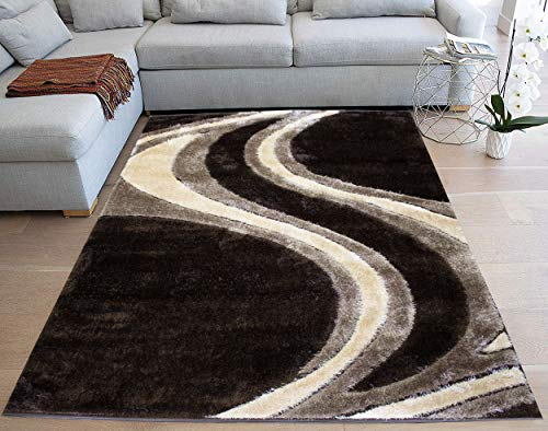 5'x7' Brown Beige Tan Shag Shaggy 3D Rug Carpet Striped Woven Braided Hand Knotted Feizy Accent Fluffy Fuzzy Modern Contemporary Decorative Sale (Platinum Shaggy P1902 Brown Vizon UPC 763985839798) ()