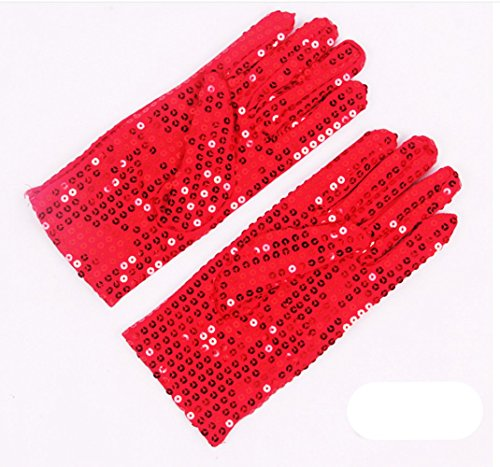 [FinalZ 1 Pair Child Michael Jackson Costume Dress Up Dance Sequin Gloves (Red)] (Michael Jackson Black Or White Costume)