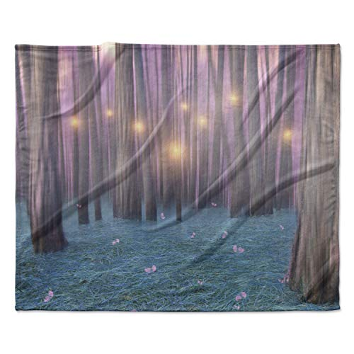 KESS InHouse Viviana Gonzalez Pink Feather Dance Digital Blue Fleece Throw Blanket, 60'' x 40'' by Kess InHouse