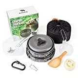 Camping Cookware Kit by Bear&Gear – Portable Camping Folding Cookware Mess Set - 10PC Lightweight Durable Pot, Pan, Bowls, Spork & More in Mesh Bag – Easy Cooking when Camping, Hiking or Outdoors