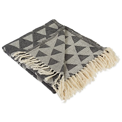 51QQEaIZzTL - DII Modern Moroccan Cotton Blanket Throw with Fringe For Chair, Couch, Picnic, Camping, Beach, & Everyday Use