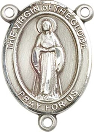 Sterling Silver Virgin of the Globe Rosary Centerpiece Medal, 3/4 - Centerpiece Globe