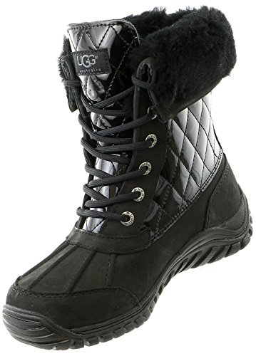 UGG Women's Adirondack II Quilted Boot,Black Patent,US 6.5 M