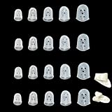 20 PCS Clear Guitar Fingertip Protectors in 5 Sizes Silicone Finger Guards for Ukulele Electric Guitar,2 Guitar Picks Added for Gift