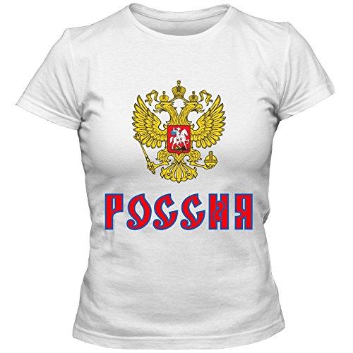 Damen Shirt Eishockey Icehockey Russland Russia Sbornaja Putin ?????? WM Trikot, Farbe:weiss;Größe:S