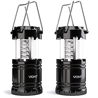 Vont Bright 2 Pack Portable Outdoor LED Camping Lantern, Black, Collapsible