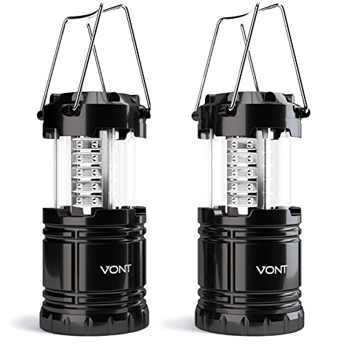 Vont 2 Pack LED Camping Lantern, Portable, Great Addition to: Survival Kits for Hurricane, Emergency, Storm, Outages, Outdoor Portable Lantern, Black, Collapsible, Battery Powered