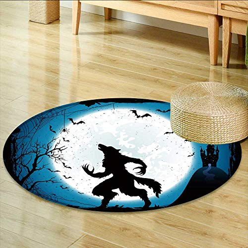 Round Area Rug Carpet Dark Halloween with Moon on Blue Sky Castle and Werewolf Spiders and Flying Bats Living Dinning Room and Bedroom Rugs