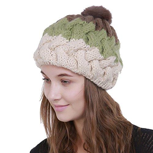 Pompon À Vert Chapeau Bonnet Claire Acvip Femme Automne Tricot Couleur Jointif Hiver Crochet tqEqBRxwP