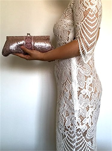 Prom for Wedding handbags Vintage chain clutch evening strap Pink with shoulder Womens Metal Party purses Mesh BqOwP6w