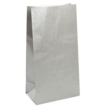 Unique Party- Paquete de 10 bolsas de regalo de papel, Color plata metalizado, 12 (59018)