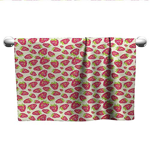 alisoso Strawberry,Face Towels Child Tropical Summer Fruit Pattern Strawberry Figures with Traditional Paisley Motifs Machine Washable Multicolor W 10
