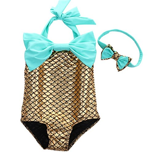 PGXT Girl's One Piece Mermaid Swimwear Swimsuit Bathing Suit+Headband Gold 90CM