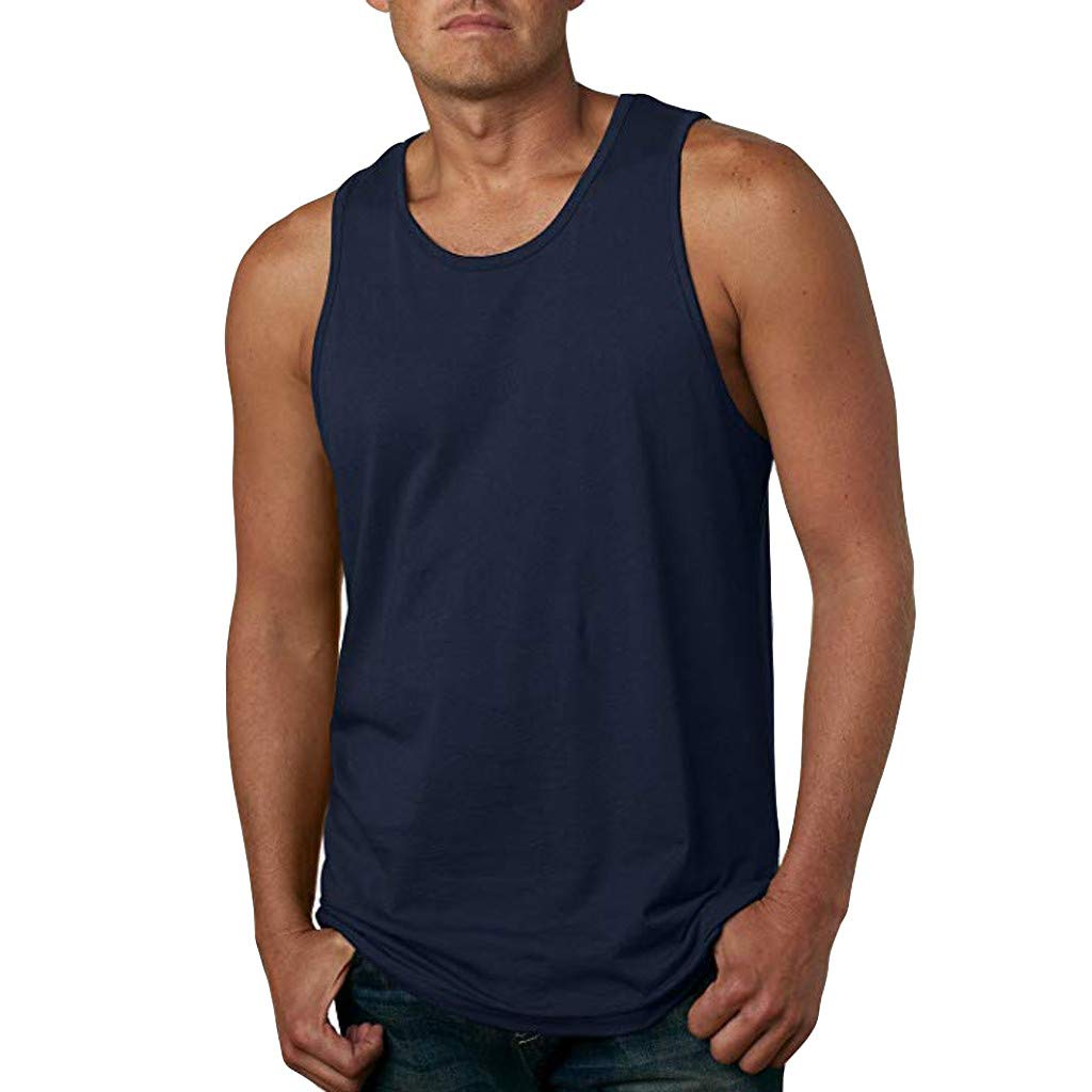 Corriee 2019 Most Wished Mens Basic Shirts Men's Solid Color Sleeveless Fitness Tops Blouses Summer Sports Vest Navy
