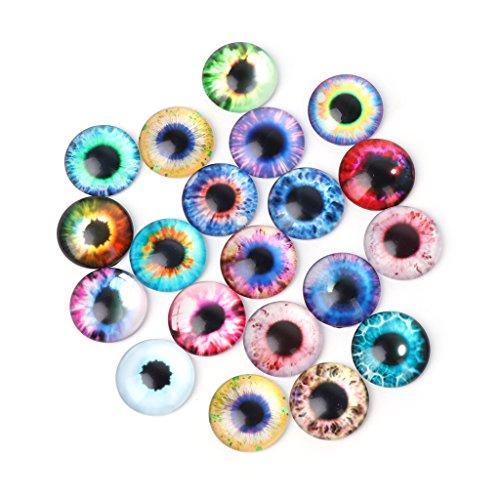 Bubile 20Pcs Glass Dolls Eye DIY Handcraft Animal Eyes Jewelry Accessories (Oval Glass Doll)