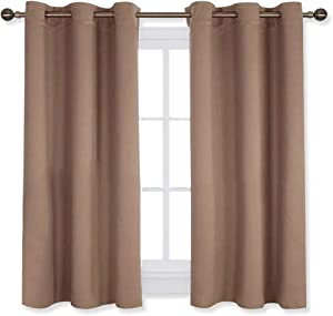 NICETOWN Window Draperies Blackout Curtain Panels, Window Treatment Thermal Insulated Solid Grommet Blackout Drapes for Bedroom (One Pair,42 by 54 Inch,Cappuccino)
