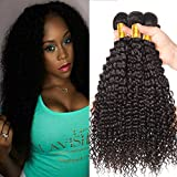 Shireen 10A Brazilian Curly Hair Weave 3 Bundles (20 22 24,300g) Virgin Kinky Curly Human Hair Weave 100% Unprocessed Hair Weft Extensions Natural Black Color