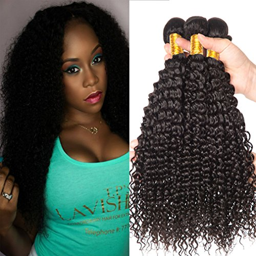Shireen 10A Brazilian Curly Hair Weave 3 Bundles (20 22 24,300g) Virgin Kinky Curly Human Hair Weave 100% Unprocessed Hair Weft Extensions Natural Black Color by Shireen Hair