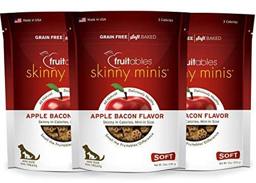 Fruitables Skinny Minis 12 Ounce Apple Bacon Low Calorie Soft and Chewy Training Treat Pack of 3