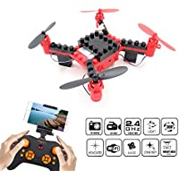 DIY Building Blocks Drone with Camera, FLYTEC T11S FPV Quadcopter Drone Headless Mode Auto Return with LED Lights Replacement Battery RC Mini Drones Great for Beginners (Red)