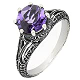 BL Jewelry Antique Finish Filigree Sterling Silver Round Cut Natural Amethyst Ring (1.8 CT.T.W)