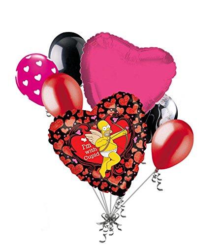 7 pc Homer Simpson Cupid Love Happy Valentines Day Balloon Bouquet Mine Hug Kiss Sweetest (Homer Kiss Simpsons)