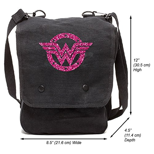 Grab A Smile Wonder Woman Logo Canvas Crossbody Travel Map Bag Case, Black & Glitter Pink