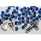 Open Heart Locket Rosary Beads Blue from LOURDES by Catholic Gift Shop Ltd