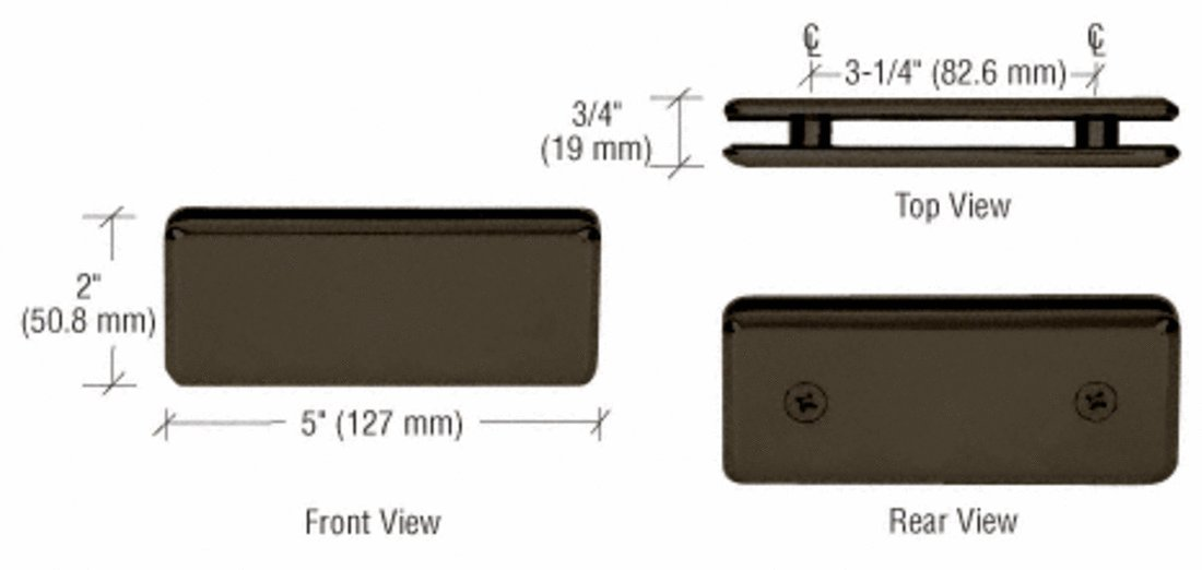 C.R. LAURENCE BGC1800RB CRL Oil Rubbed Bronze Beveled 180 Degree Glass-to-Glass Clamp
