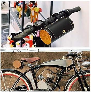 Vintage mango cilíndrico de bicicleta sillín de bicicleta frontal Bar bolsa paquetes negro marrón, Black- PU: Amazon.es: Deportes y aire libre