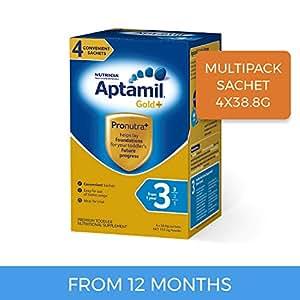 Aptamil Gold+ 3 Toddler Milk Drink, Multipack Sachet, 4 Pack, 155.2 g